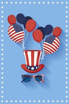 Fête de l'indépendance des états-unis avec chapeau haut de forme et ballons