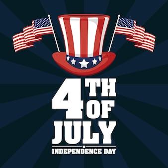 Fête de l'indépendance des états-unis avec chapeau haut de forme