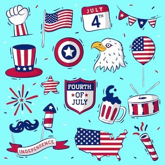 Fête de l'indépendance des états-unis dessinée à la main