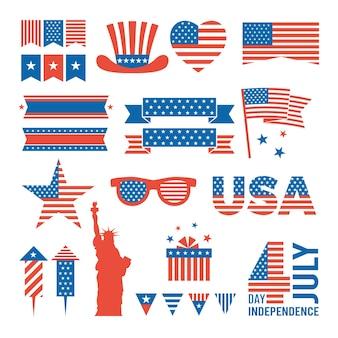 Fête de l'indépendance des états-unis. éléments de conception du jour de l'indépendance du 4 juillet
