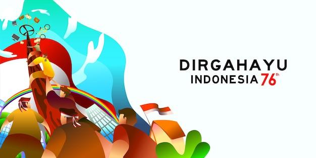 Fête de l'indépendance de l'indonésie 17 août avec illustration de concept de jeux traditionnels