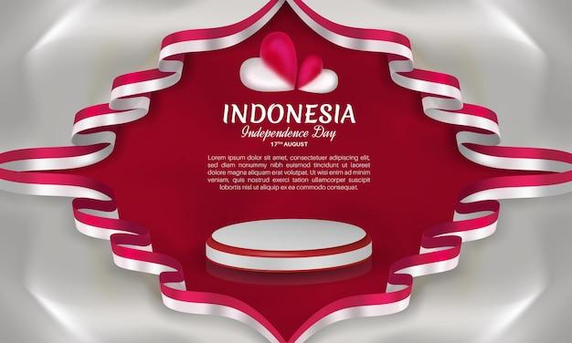 Fête de l'indépendance de l'indonésie avec cadre ruban coeur rouge et blanc sur fond gris clair isolé
