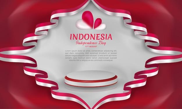 Fête de l'indépendance de l'indonésie avec cadre de ruban coeur rouge et blanc sur fond rouge foncé isolé