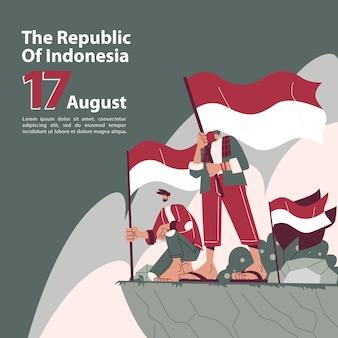 Fête de l'indépendance indonésienne avec des personnages patriotes