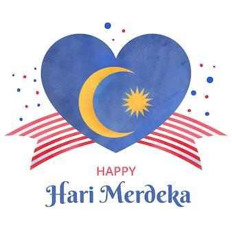 Fête de l'indépendance de la malaisie avec coeur