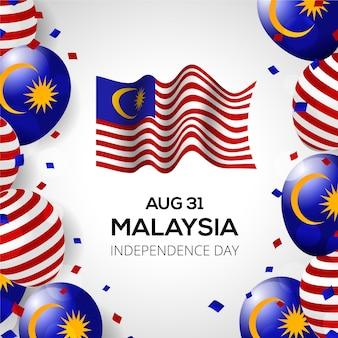 Fête de l'indépendance de la malaisie merdeka avec drapeau et ballons