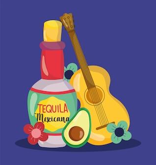 Fête de l'indépendance mexicaine, bouteille de guitare fleurs d'avocat de tequila, viva mexico est célébrée sur l'illustration de septembre