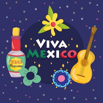 Fête de l'indépendance mexicaine, guitare bouteille de tequila fleurs fond sombre, viva mexico est célébrée sur l'illustration de septembre