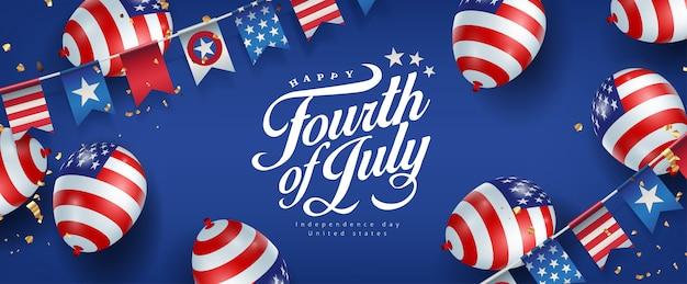 Fête de l'indépendance usa modèle de bannière drapeau et drapeaux de ballons américains décor de guirlandes.