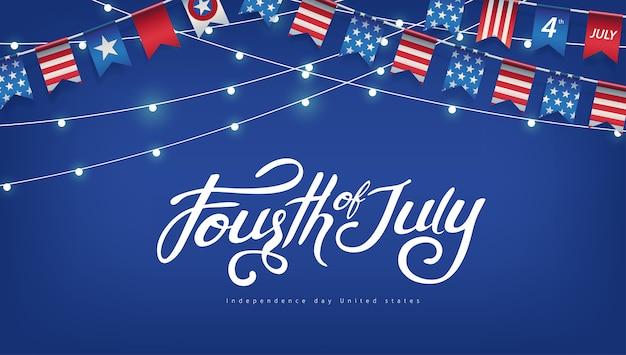 Fête de l'indépendance usa modèle de bannière drapeaux américains guirlandes et décor de lumières rougeoyantes.
