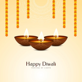 Fête indienne joyeux diwali avec guirlande