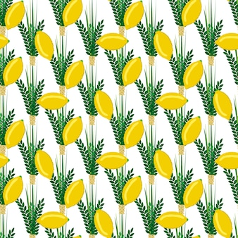 Fête juive de souccot modèle sans couture traditionnel judaïsme fond religion festival agrumes saule illustration vectorielle. culture de fruits de fête de succot de citron de feuille de citronnier.