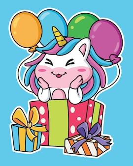 Fête de la licorne de dessin animé avec des ballons et des cadeaux