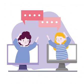 Une fête en ligne, des amis, un jeune homme et une femme parlant à des ordinateurs gardent leurs distances pendant le coronavirus