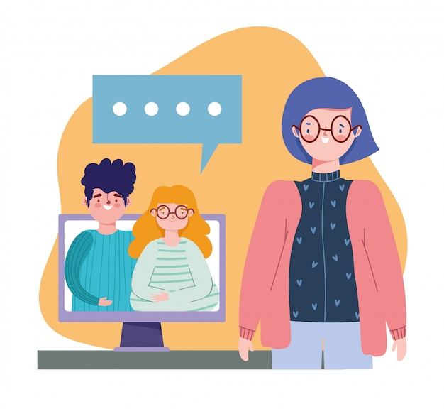 Fête en ligne, anniversaire ou réunion d'amis, femme parlant avec couple illustration d'appel vidéo sur ordinateur