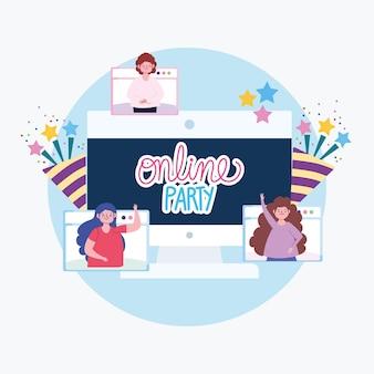 Fête en ligne, appel vidéo, personnes connectées par illustration internet