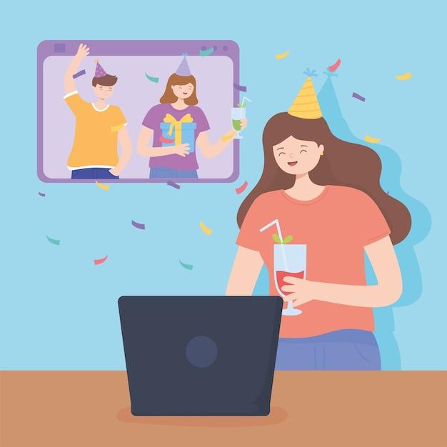 Fête en ligne, femme heureuse avec cocktail avec ordinateur portable, smartphone d'amis célébrant l'illustration vectorielle