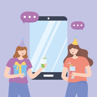 Fête en ligne, filles avec chapeau de boissons et smartphone célébrant l'illustration vectorielle