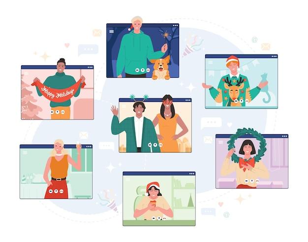 Fête en ligne de noël. jeunes personnages adultes avec célébration de noël