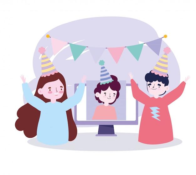 Fête en ligne, rencontre d'amis, couple et homme lors d'une fête d'anniversaire vidéo