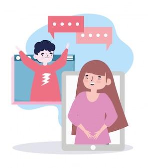 Fête en ligne, rencontre d'amis, homme et femme parlant par internet