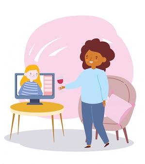 Fête en ligne, rencontre d'amis, personnes restant en contact les unes avec les autres par internet