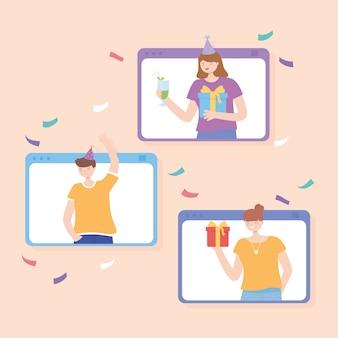 Fête en ligne, site web avec des personnes célébrant avec des cadeaux et des boissons vector illustration