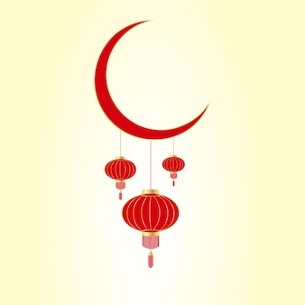 Fête lunaire asiatique. lanternes chinoises rouges suspendues à la lune.