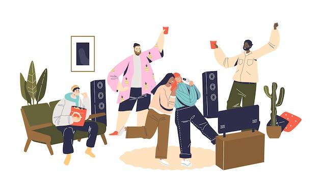 Fête à la maison avec des amis heureux de communiquer