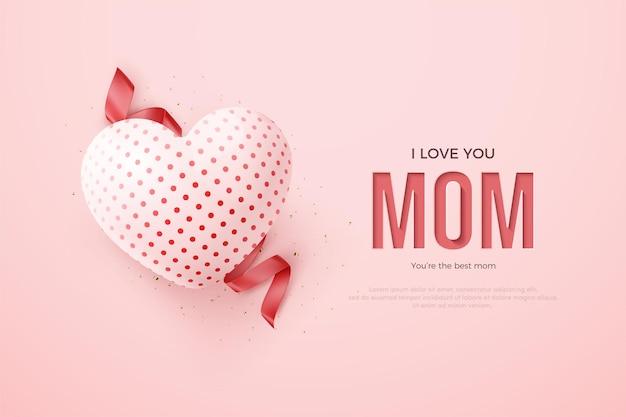 Fête des mères 3d ballon rouge et ruban.