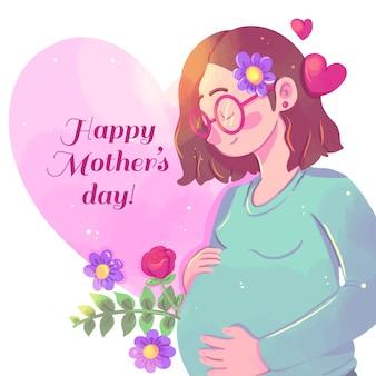Fête des mères aquarelle avec femme enceinte
