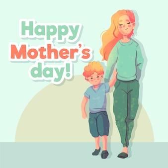 Fête des mères aquarelle avec mère et enfant