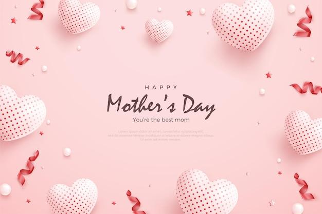 Fête des mères avec des ballons blancs et ruban rouge.