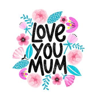 Fête des mères avec cadre floral en lettrage