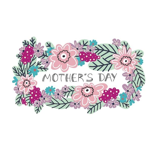 Fête des mères carte de fête des mères conception florale illustration vectorielle dans un style plat