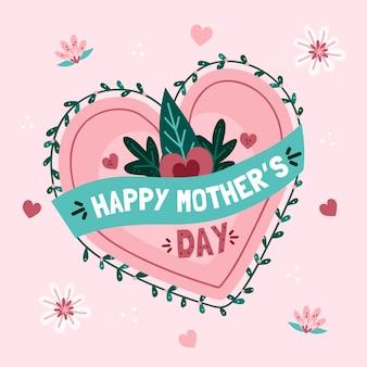 Fête des mères avec coeur et feuilles