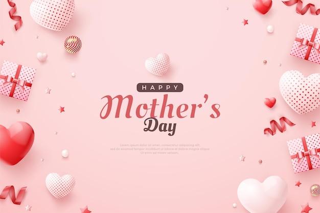 Fête des mères avec coffrets cadeaux et autres fournitures.