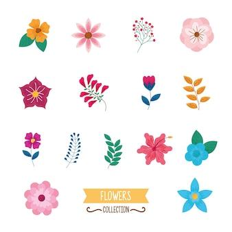 Fête des mères définie des icônes de fleurs