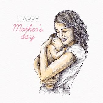 Fête des mères design dessiné à la main