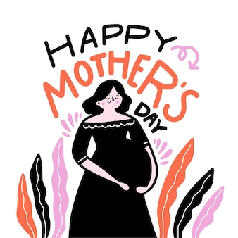 Fête des mères dessiné à la main