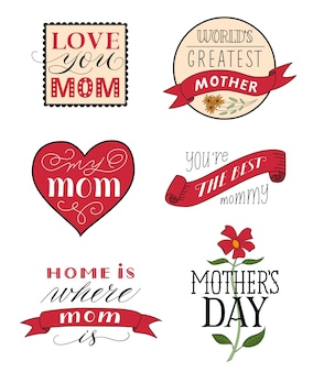 Fête des mères étiquettes de félicitations festives ensemble de différentes formes avec des rubans d'inscriptions calligraphiques et des fleurs isolées