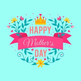 Fête des mères avec fleurs et couronne