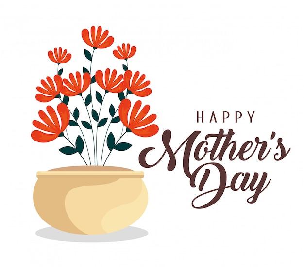 Fête des mères avec fleurs plantes à l'intérieur du pot de fleurs