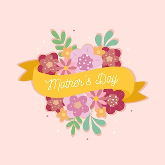 Fête des mères avec fleurs et rubans