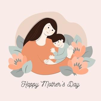 Fête des mères floral avec femme et enfant
