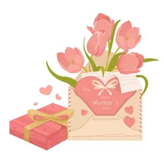 Fête des mères avec lettre tulipes et boîte de chocolats, isolé sur fond blanc