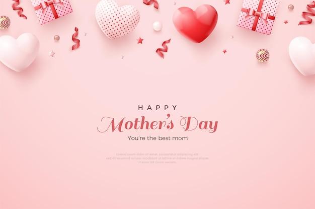 Fête des mères avec de magnifiques ballons rouges et blancs 3d.