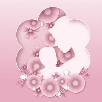 Fête des mères, mère tenant bébé, joli fond floral