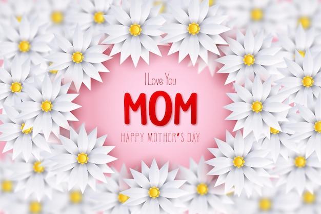 Fête des mères avec les mots je t'aime maman au milieu d'une fleur