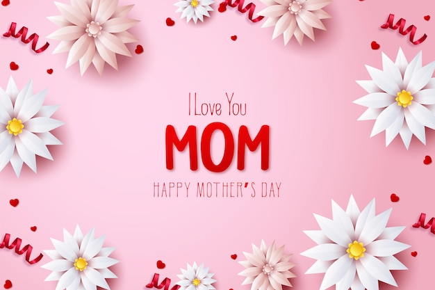 Fête des mères avec les mots je t'aime maman en fleurs rouges et blanches.